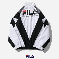 Fila New fashion letter print  long sleeve coat windbreaker