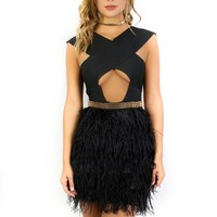 The Plaza Black & Gold Feather Dress