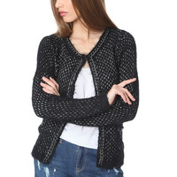 Black knitted jacket with chunky chain trim