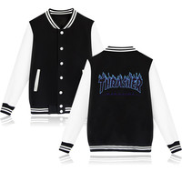 New Thrasher Jacket women Pink Cotton Baseball Jacket coat with Hip Hop autumn winter Thrasher Jacket coat XXS-4XL