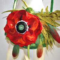 Hand Felted HAND made Small Purse BAG Shoulder Bag Poppy Flower Green Red Art Boho Festival Perfect GIFT Idea Unique