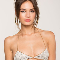 Snake Printed Metal Bra Chain