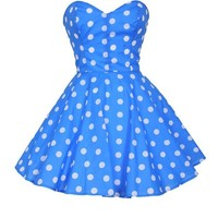 ROYAL BLUE POLKA DOT PROM PARTY DRESS