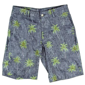 The Social Palm Linen Short in Navy by Country Club Prep