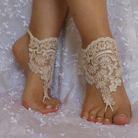 Champagne Free Ship Barefoot Sandals  beach shoes, embroidered lariat sandals, wedding bridal, bellydance, wedding shoes, summer wear,