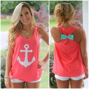 {Preorder} Anchors Aweigh! Tank: Coral/Mint - Off the Racks Boutique