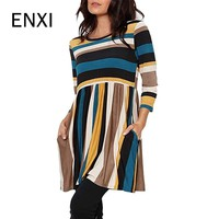 ENXI Women Casual Pregnancy Dress Maternity Dresses Winter Clothes For Pregnant Women Striped Pregnant Clothing 3XL