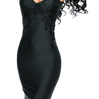 Black Sleevelss Mesh Lace Panel Cutout Back Bodycon Mini Dress