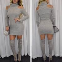 HIGH COLLAR SOLID COLOR BODYCON DRESS