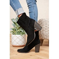 Long Gone Faux Suede Booties (Black)