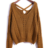 Brown Cross Strappy Back Long Sleeve Sweater