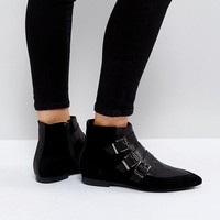 Pieces Suede Buckle Ankle Boots at asos.com