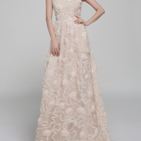 Beige Floral Organza Maxi Dress