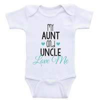 """Aunt Uncle Baby Clothes """"My Aunt and Uncle Love Me"""" Cute Newborn Baby One Piece Bodysuits"""
