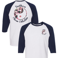 Southern Charm Ying Yang on a White with Navy Sleeve 3/4 Length Sleeve T Shirt