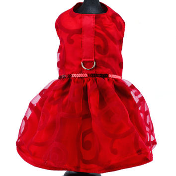 Red Sheer Dog Harness Party Dress