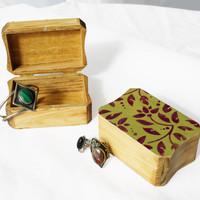 Shabby Chic Hand Painted Wood Trinket Jewelry Gift Boxes