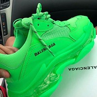 Alwayn BALENCIAGA Triple S High Quality Women Men Fashion Contrast Color Crystal Soles Shoes Sport Sneakers Green
