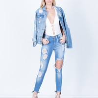 Destroyed Step Hem Jeans