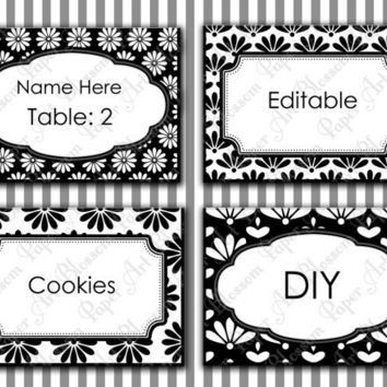 Editable Place Cards - Black and White - Digital - Printables - Modern Tags - Labels - 1558