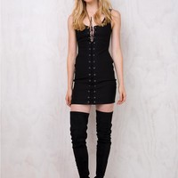 Hills of Hollywood Lace Up Mini Dress