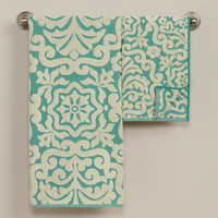 Darlington Sculptural Hand Towel in Beryl Green | World Market