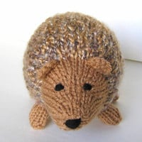 "Hand Knit Little Hedgehog Toy - Ready To Ship - Woodland Nursery Stuffed Animal - Stuffed Toy - Plush Doll Baby Gift  - Child Toy 6"" Long"