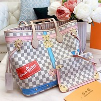 LV New fashion tartan letter print leather shoulder bag handbag two piece suit bag White