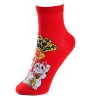 Lucky Cat Red Socks