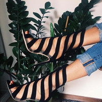 Fashion line hollow open-toed bandage high heel sandals