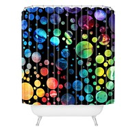 Madart Inc. Polka Dots Black Shower Curtain