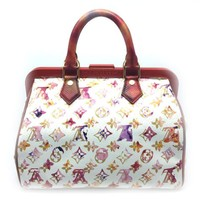 Louis Vuitton Monogram Speedy Watercolor Handbag Red/ White M95729