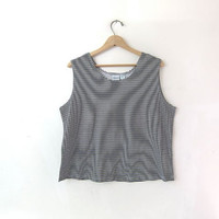 Vintage oversized striped tank top. cropped tank. black and white striped.