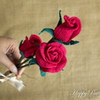 Crochet Flower Pattern Collection - Crochet Roses for Bouquet, Decoration, Hair and Brooches  - Crochet Rose Pattern - Valentine's Gift Idea