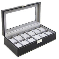 Watch Box Mens Leather Display Glass Top Jewelry Case Organizer Black Brown