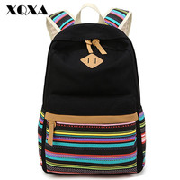 Xqxa Striped Canvas Backpacks For Women