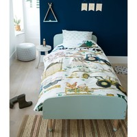 Single White Quilt Cover Set 100% Cotton Farm Tractor by Kids Bedding House