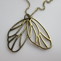 Fairy Wings Charm Necklace in Vintage Style Antique Gold Finish