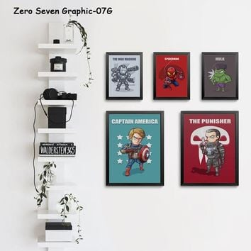 Funny Marvel Movie The Avengers Super Hero Hulk Cartoon Canvas Art Painting Print Poster Picture Wall Kids Room Home Decoration