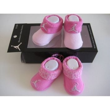 Nike Jordan Booties Girl Baby Infant 0-6 Months with Jumpman Sign Pink and Light Pink 2 Pairs One Set New