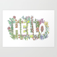Hello in Flowers Art Print by Marie Gardeski