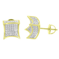 Kite Shape Earrings 14k Yellow Gold Finish Iced Out Simulated Diamonds Screw Back Studs