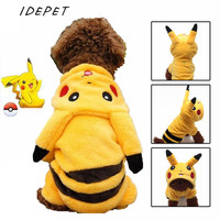 New Warm Flannel Dog Clothes Cute Pikachu Puppy Pet Costume Pokemon Apparel Suit Cartoon Winter Hoodie Coat Jumpsuit 25