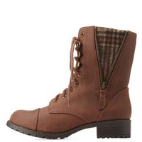 Brown Plaid-Lined Lace-Up Combat Boots by Charlotte Russe