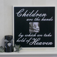 Decorative photo frames 16x16 wall sayings Children are the hands by ... hold of heaven - Black
