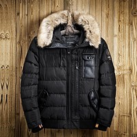 2017 Winter Mens Jackets and Coat High Quality Male Thick Faux Fur Hooded Parka with PU Leather Patches Brand Clothes
