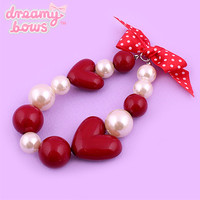 Buy Chocomint Chunky Plastic Heart Pearl Bracelet at Dreamy Bows