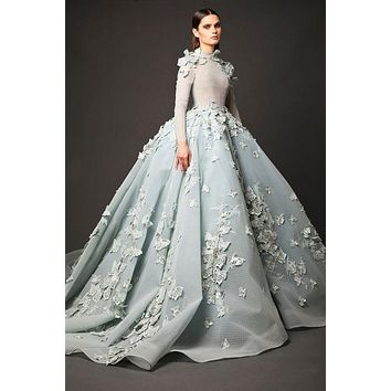 Vintage Butterfly Long Sleeve Puffy Ball Gown Evening Dress 2017 Applique Lace Organza O Neck Custom Made Prom Dresses Hot Sale