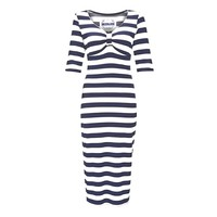 Dress up in the Carolina Wiggle Dress for a night out or day to day wear. This slip on style sexy bodycon stripe pattern dress feature soft stretch knit, 3-quarter length sleeve, a sweetheart neckline with crochet trim and finish with ruched design at the