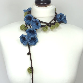 Forget Me Nots, Boho Wrap Scarf, Crochet Necklace, Oya Beaded Lariat, Posh Flowers Scarf, Wool Necklace, Chunky Wrap Scarf, Gift For Her